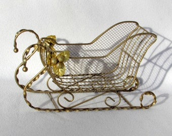 Large Gold Mesh Christmas Sleigh with Holly Berry Leaf Trim - Vintage Home Holiday Decor