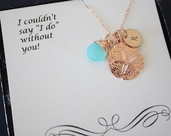 5 Bridesmaid Gift Personalized Rose Gold Sand Dollar, Custom Necklace, Birthstone, Beach Wedding, Nautical, Destination, Initial Jewelry