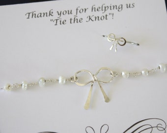 5 Bridesmaid Gift Tie the Knot Bow Bracelets Pearl and Ring Set, Silver Bow Ring, Knot Bracelet, Thank you card, White Pearl