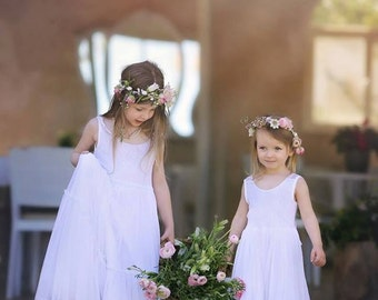 Wedding White Lace Flower Girl Dress, Floor Length Lace Flower Girl Dress, Party Dress, Jr. Bridesmaid Dress