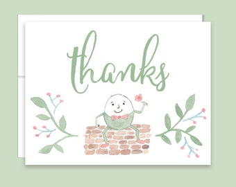Humpty Dumpty Thank You Notes, Nursery Rhyme Thank You Notes, Watercolor Nursery Rhyme, Baby Shower Thank You Notes, Shower Thank You Cards