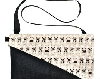 SALE! Pugs, bow ties, Messenger bag, cross body bag