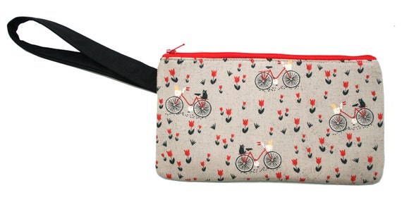 Bicycles, tulips, cats, wristlet, flat bag, small bag