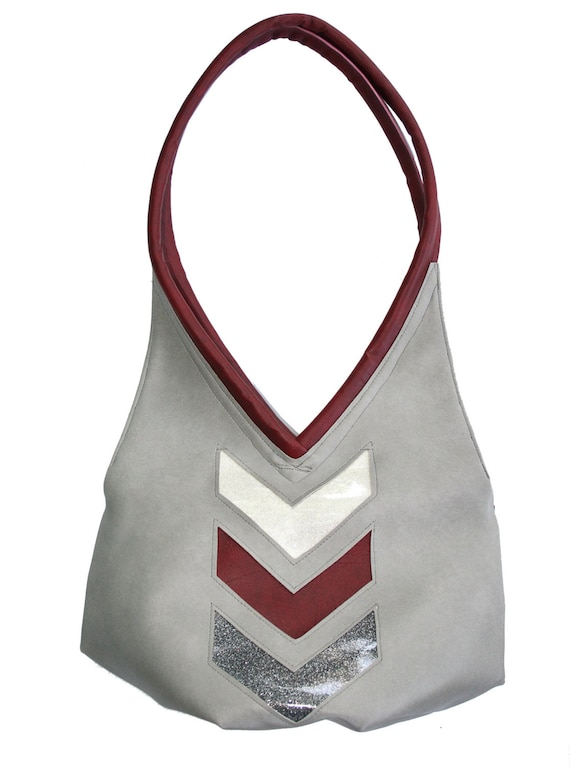 Light grey, chevron, sparkle vinyl, tear drop, vegan leather, shoulder bag