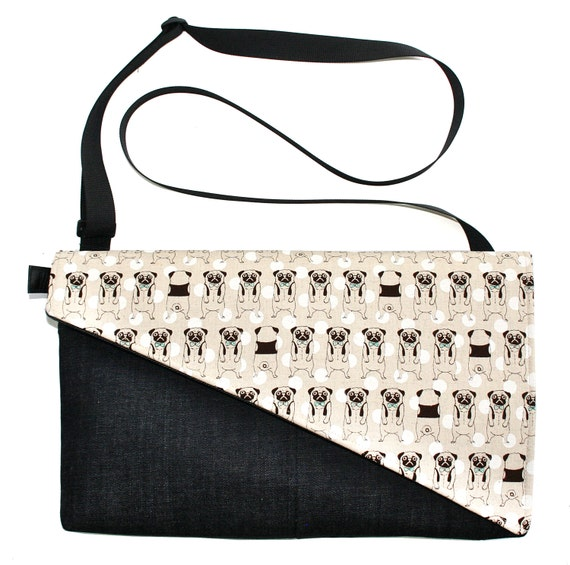 Pugs, bow ties, Messenger bag, cross body bag