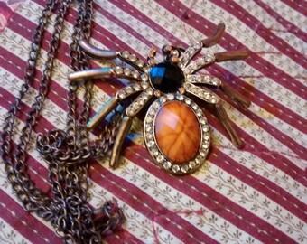 Rhinestone Spider Pendant