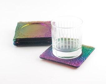 Modern Coasters, Rainbow Colors, Iridescent Glass, Imprinted Design, Bar Accessories, Fused Glass Coasters, Cool Gifts for Men