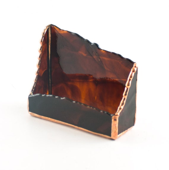 Unique business card holder modern desk accessories stained for Creative business card holders