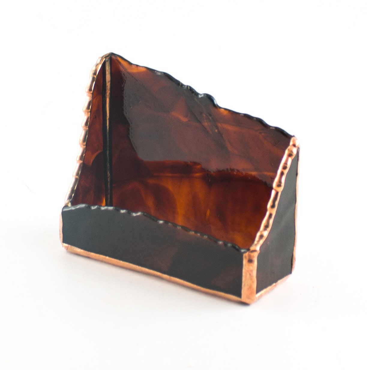 Unique business card holder modern desk accessories stained for Unusual business card holders
