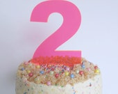 Neon pink perspex number cake topper decoration