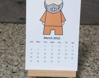 2016 Calendar/ Calendar 2016/Horror Calendar/ Horror Characters Calendar 2016/ Paper Calendar 2016 Inspired by the horror movie