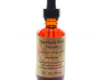 Wild Hawthorn Berry Extract - (Crataegus oxyacantha) Tincture - 2 fl. oz. / 60 ml. - Heart Tonic - Made with wild harvested Hawthorn berries