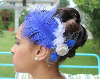 Royal Blue Ostrich Wedding Hair Clip
