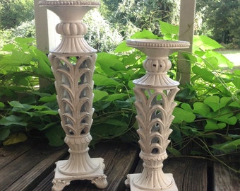 French Country Ornate Candle Holders - Set of 2 Claw Feet Pedestals - Cottage White Pillar Candle Holder - Table Top Cottage Chic