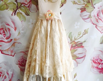 Ivory & cream lace satin boho wedding dress by mermaidmisskristin