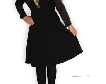 Black dress A shape open shoulder knee length transparent long sleeves Medium Large Handmade dress Two pockets on the sides
