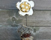 Summer Flower, Summer Decor, Daisy, Wood Daisy, Primitive Daisy, Rustic Daisy, Primitive Flower, Rustic Summer, Country Decor, White Daisy