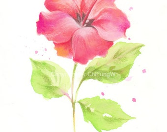 Flower, flower art, fine art giclee print, Watercolor print, watercolor, pastel, abstract, Hibiscus, Original painting, watercolor print