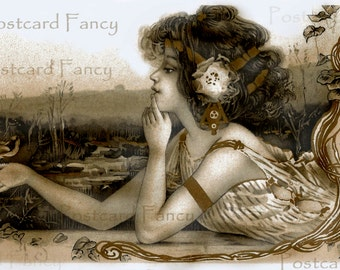 Art Nouveau Pretty Girl3 ANTIQUE Postcard, Instant Digital Download