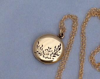 Petite Vintage Round LaMode Locket Necklace, La Mode, 12K GF