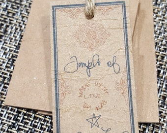 100 Personalized Store Logo 100% Recycled Chipboard Hang Tags - Small 0.75x1.5