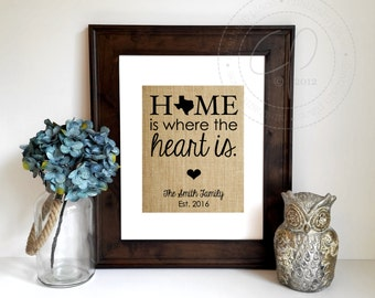 Personalized House Warming Gift | New Home Housewarming Gift | Home Is Where The Heart Is Burlap Print | New House Gift | New Homeowner