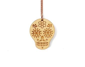 Calavera necklace - mexican sugar skull pendant - dia de los muertos jewelry - graphic death jewellery - ethnic - lasercut maple wood