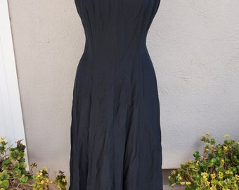 90's Black Dress, Black Party Dress, Black Pinup Dress, Mid Length Dress, Long Black Dress, Criss Cross Back, 90's Clothing