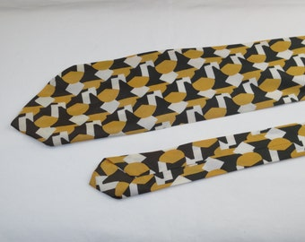 Vintage Men's Tie, Green Yellow and White