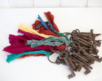 Cast Iron Skeleton Keys with Torn Fabric