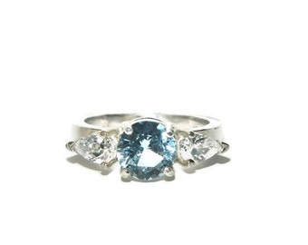 Aquamarine Ring, Three Stone, Anniversary Ring, Cocktail Ring