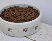 Medium Dog bowl with paw prints,  pottery dog bowl, small dog bowl, Pottery, Ceramics, Pets