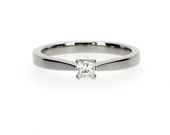 0.15ct Princess cut diamond engagement ring, white gold ring, diamond solitaire, yellow gold, simple diamond ring, princess wedding, wedding