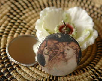 """2.25"""" Pocket Mirror Rossetti's Lady Lilith - Organza Gift Bag Included - Ready To Ship"""