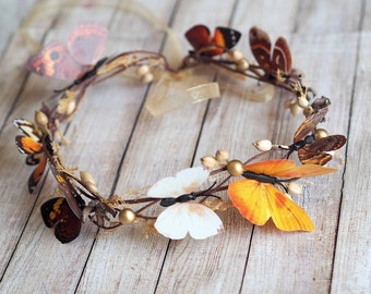 Wedding Butterfly, Boho Crown, Fall Hair Accessory, Autumn Headband, Butterfly hair, Autumn Hair Accessory, Nature Crown, Woodland Circlet