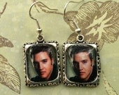 Elvis Presley Earrings Jewelry Head Face Silver 3D Dimensional Picture Earrings