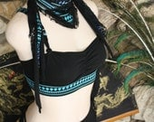 Organic Secret Pocket Scarf in Black with Teal Blue Tribal Print and Black Lace, Dust Mask, Hip Belt, Sacred Witch, Festival Couture