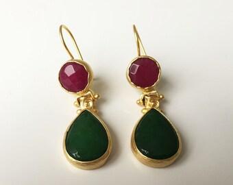 handmade, gold plated, earrings, stone, semi-precious stone, 22k, gold, dangle, drop,