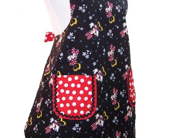 Womens Full Apron, Retro Apron, Minnie Chef Apron, Fully Lined Apron