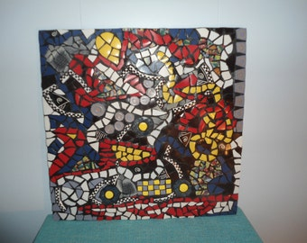 "24"" X 24"" Abstract Mosaic Picture / Wall Hanging / Table Top / Piece Made / Direct From Artist"