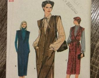 UNCUT Vintage 1980's Dress, Jumper Pattern Vogue 7431 Very Easy Vogue Size 14 Bust 36