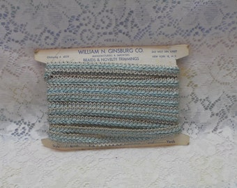 Vintage braids and Novelty Trim 1960's Craft Supply Sewing Supply Turquoise and Ivory