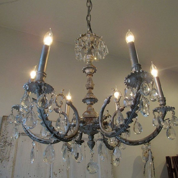 Rusty pewter French chandelier farmhouse lighting ornate