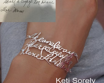 Message Bracelet with Your Handwriting, Double Chain Signature Bracelet in Sterlng Silver, Yellow Gold, Rose Gold, 14K Gold Filled