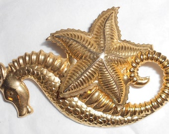 Seahorse Starfish Pin vintage 1980s fashion beach jewelry