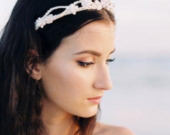 Bridal Crown. Bridal Tiara. Bridal Flower Tiara {Meredith}