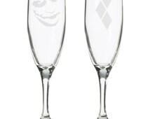 Joker and Harley Quinn super hero villain comic book wedding toasting champagne flutes glasses, batman villains, comics, gotham