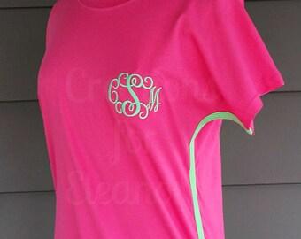 Women's Monogrammed Contrast Trim T-shirt