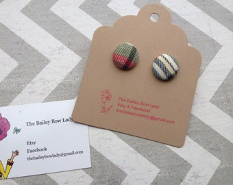 Ready to Ship Plaid Fabric covered button Earrings
