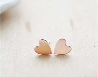 Rose Gold Heart Earrings - Gift for Her - Rose Gold Filled Studs - Dainty Post Earrings - Mother's Day Jewelry - Minimalist Everyday Jewelry